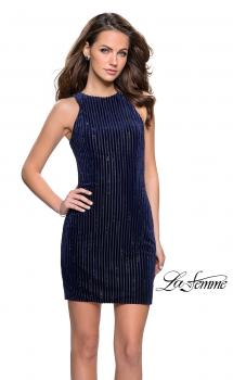 Picture of: Velvet Homecoming Dress with Scattered Rhinestones in Navy, Style: 26789, Main Picture