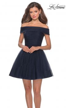 Picture of: Short Off the Shoulder Beaded Homecoming Dress in Navy, Style: 28234, Main Picture