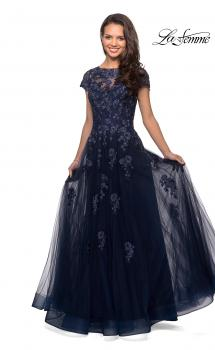 Picture of: Long Tulle Gown with Intricate Lace Detailing in Navy, Style: 26907, Main Picture