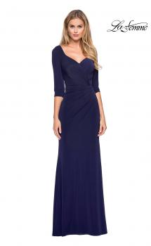 Picture of: 3/4 Sleeve Long Jersey Dress with Sweetheart Neckline in Navy, Style: 26955, Main Picture