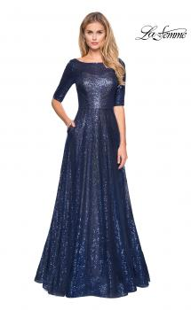 Picture of: Fully Sequined Floor Length Gown with Pockets in Navy, Style: 27016, Main Picture