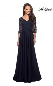 Picture of: Floor Length Satin Dress with Lace Detail and Pockets in Navy, Style: 27235, Main Picture
