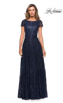 Picture of: Sequin Lace A-line Gown with Sheer Short Sleeves in Navy, Style: 27837, Main Picture