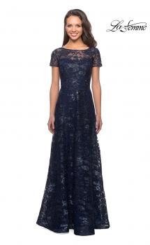 Picture of: Short Sleeve Long Sequin Dress with Sheer Neckline in Navy, Style: 27839, Main Picture