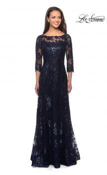 Picture of: Long Lace Dress with Sequins and Sheer 3/4 Sleeves in Navy, Style: 27885, Main Picture