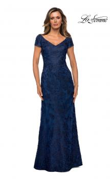 Picture of: Lace Evening Gown with Cap Sleeves and V-Neck in Navy, Style: 27915, Main Picture