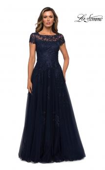 Picture of: Beaded Lace Rhinestone A-line Evening Gown in Navy, Style: 27920, Main Picture