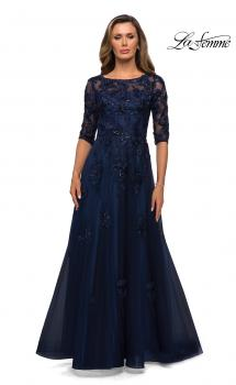 Picture of: Three Quarter Sleeve A-line Gown with Floral Embellishments in Navy, Style: 27922, Main Picture