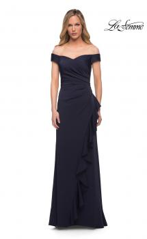 Picture of: Off the Shoulder Jersey Evening Gown with Ruffle Skirt Detail in Navy, Main Picture