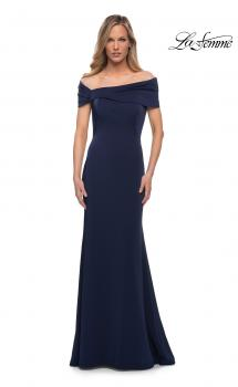 Picture of: Simply Chic Off the Shoulder Jersey Gown in Navy, Main Picture