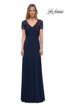 Picture of: Jersey Long Evening Dress with Short Lace Sleeves in Navy, Main Picture