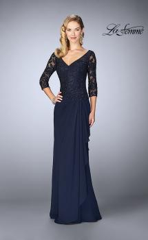 Picture of: Crepe Chiffon Gown with Lace Sweetheart Neckline in Navy, Style: 24857, Main Picture