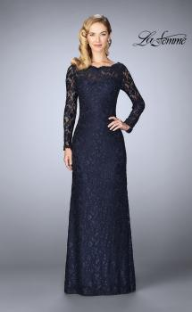 Picture of: Lace Gown with Long Illusion Sleeves and Closed Back, Style: 24869, Main Picture