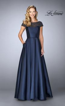 Picture of: A-line Mikado Gown with Sheer Beaded Top in Navy, Style: 24883, Main Picture
