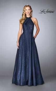 Picture of: Gathered Halter Neck Dress with Patterned A-line Skirt in Navy, Style: 24888, Main Picture