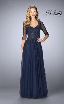 Picture of: Tulle A-line Evening Dress with Beading in Navy, Style: 24894, Main Picture