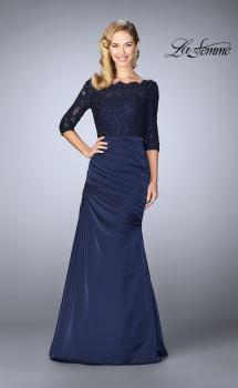 Picture of: Gathered Mermaid Satin Gown with Lace Top in Navy, Style: 24926, Main Picture