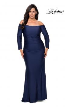 Picture of: Off The Shoulder Jersey Plus Size Long Sleeve Prom Gown in Navy, Style: 28881, Main Picture