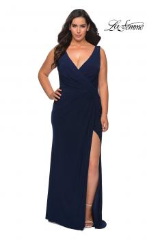 Picture of: Jersey Plus Size Prom Dress with V-Neckline and Slit in Navy, Style: 28882, Main Picture