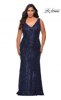 Picture of: Sequin Fringe Plus Size Prom Gown with V-Neck in Navy, Style: 28946, Main Picture