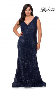 Picture of: Faux Wrap Bodice Sequin Plus Size Prom Gown in Navy, Style: 28962, Main Picture
