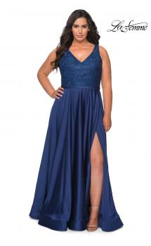 Picture of: A-line Plus Size Dress with Lace Sequin Bodice in Navy, Style: 29004, Main Picture