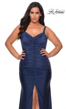 Picture of: Curvy Jersey Prom Dress with Center Slit and Ruching in Navy, Style: 29027, Main Picture