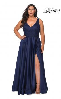 Picture of: A-line Plus Size Dress with Rhinestone Lace Bodice in Navy, Style: 29039, Main Picture