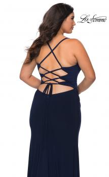 Picture of: Jersey Plus Size Dress with Slit and Lace Up Back in Navy, Style: 29055, Main Picture
