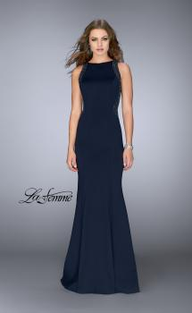 Picture of: Neoprene Dress with Beaded Back and Sides in Navy, Style: 24839, Main Picture
