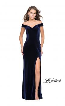 Picture of: Long Off the Shoulder Velvet Gown with Open Back in Navy, Style: 25400, Main Picture