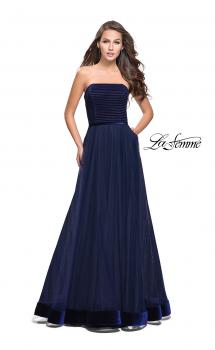 Picture of: Long Strapless Prom Dress with Velvet Bodice Detail in Navy, Style: 25408, Main Picture