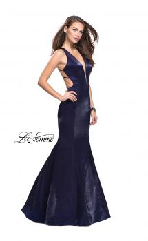 Picture of: Long Form Fitting Mermaid Prom Dress with Deep V in Navy, Style: 25494, Main Picture