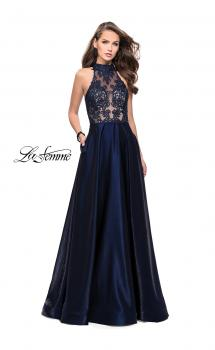 Picture of: Long Prom Dress with Satin A-line Skirt and Beading in Navy, Style: 25617, Main Picture