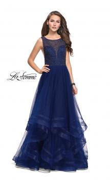 Picture of: Ball Gown with Ruffle Tulle Skirt and Beading in Navy, Style: 25620, Main Picture