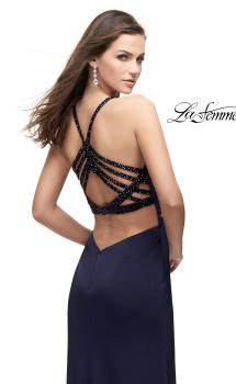 Picture of: Long Jersey Prom Dress with Beaded Strappy Open Back in Navy, Style: 25669, Main Picture