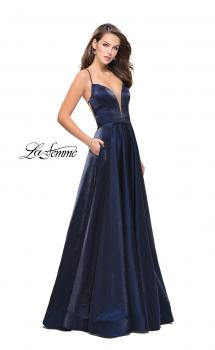 Picture of: Satin A-line Gown with Deep V Sweetheart Neckline, Style: 25670, Main Picture