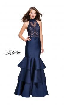 Picture of: Long Mikado Prom Dress with Ruffle Mermaid Skirt in Navy, Style: 25707, Main Picture