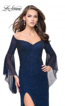 Picture of: Beaded Prom Dress with 3/4 Bell Sleeves and Leg Slit in Navy, Style: 25717, Main Picture