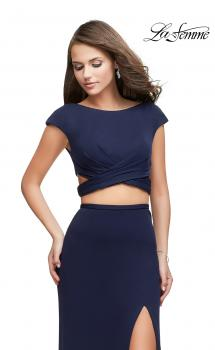 Picture of: Two Piece Wrap Jersey Prom Dress with Short Sleeves, Style: 25815, Main Picture