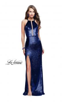 Picture of: Long Velvet Prom Dress with Leg Slit and Open Back in Navy, Style: 25861, Main Picture