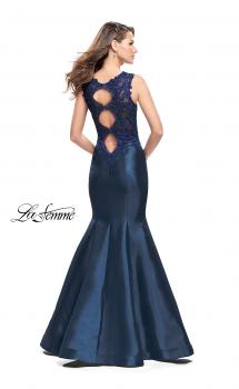 Picture of: Long Mikado Mermaid Gown with Lace Straps in Navy, Style: 25972, Main Picture