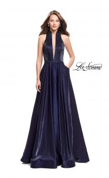 Picture of: Satin Ball Gown with Tonal Beading and Back Cutout, in Navy Style: 25986, Main Picture
