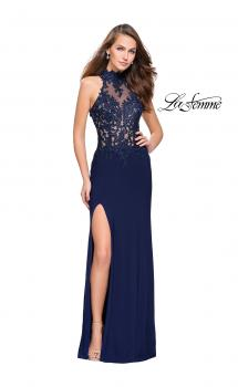 Picture of: Sheer Lace and Beaded Prom Dress with High Neck in Navy, Style: 26038, Main Picture