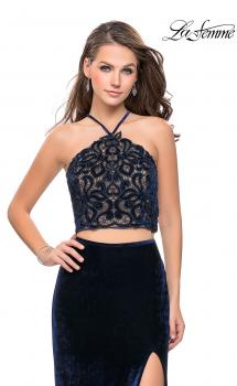 Picture of: Long Velvet Two Piece Prom Dress with Printed Bodice in Navy, Style: 26115, Main Picture