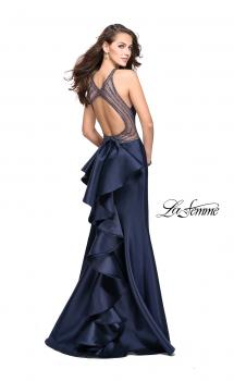 Picture of: Mikado Mermaid Dress with High Neck and Beading in Navy, Style: 26181, Main Picture