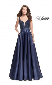 Picture of: Long Mikado Prom Dress with Beaded Bodice, Style: 26203, Main Picture