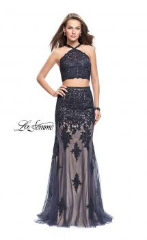 Picture of: Two Piece Prom Dress with Beaded Top and Tulle Skirt in Navy, Style: 26305, Main Picture