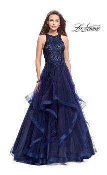 Picture of: Ball Gown with Tulle Skirt, High Neck, Beads, and Lace in Navy, Style: 26386, Main Picture