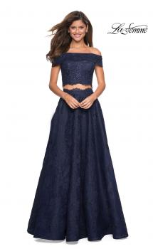 Picture of: Two Piece Off the Shoulder Lace Prom Dress in Navy, Style: 27028, Main Picture